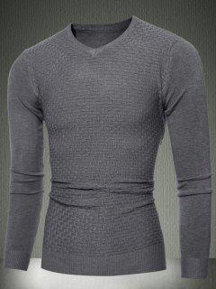 Slim Fit V-Neck Sweater In Textured Knit - Deep Gray 2xl
