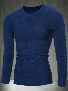 Slim Fit Pull Col V En Tricot Texturé - Bleu Cadette 2xl