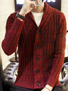 Shawl Collar Ribbed Knit Cardigan - Wine Red L