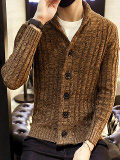 Shawl Collar Ribbed Knit Cardigan - Coffee M