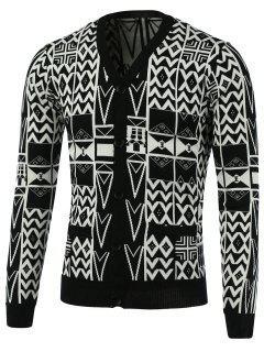 Motif Géométrique V-Neck Single-breasted Cardigan - Blanc Et Noir Xl