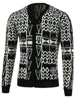 Geometric Pattern V-Neck Single-Breasted Cardigan - White And Black L