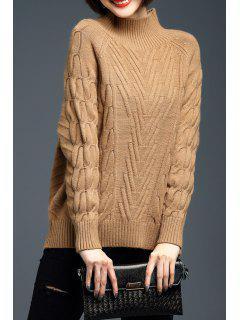 Cable Knit Raglan Manches Woolen Sweater - Camel M