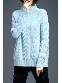 Suéter De Lana Punto Cable Cuello Mock - Azul Claro M