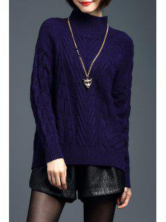 Cable Knit Raglan Manches Woolen Sweater - Bleu Violet L