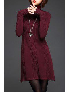 Suéter Largo Cable Tejido De Cuello Alto - Vino Rojo
