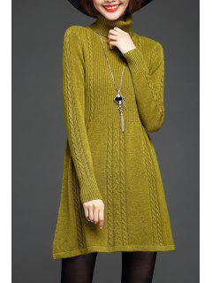 Suéter Largo Cable Tejido De Cuello Alto - Color De Celadon