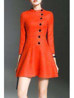 Stand Collar Ruffle Mini Dress - Jacinth S