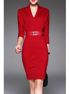 V Neck Belted Robe Moulante - Rouge S
