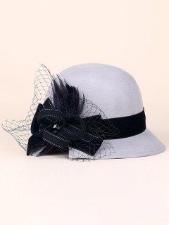 Handmade Strappy Mesh Cloche Hat - Light Gray