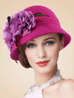 Handmade Flourishing Flower Feather Cloche Hat - Rose Red