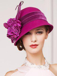 Flowers Velvet Band Feather Cloche Hat - Rose Red