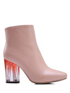 Clear Heel Zipper Square Toe Ankle Boots - Pink 38