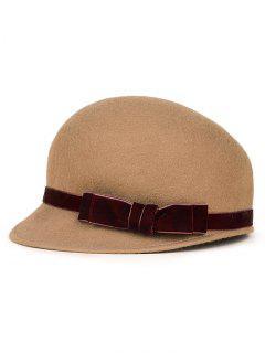 Velvet Bowknot Band Horsemanship Hat - Camel