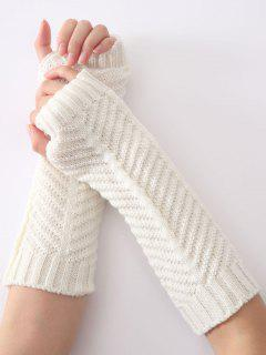 Winter Fishbone Crochet Knit Arm Warmers - White