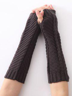 Christmas Winter Fishbone Crochet Knit Arm Warmers - Deep Gray