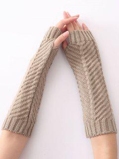 Winter Fishbone Crochet Knit Arm Warmers - Light Gray