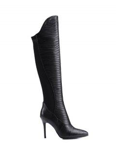 Ruched Pointed Toe Splicing Thigh Boots - Black 38