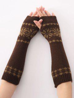 Winter Warm Christmas Snow Floral Crochet Knit Arm Warmers - Coffee