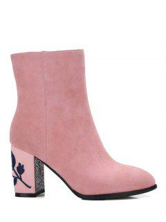 Flower Pattern Embroidery Sequins Ankle Boots - Pink 38