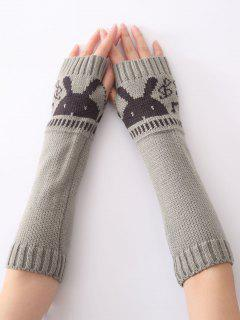 Christmas Winter Rabbit Head Hollow Out Crochet Knit Arm Warmers - Light Gray