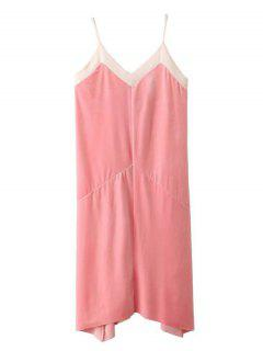 Mesh Trim Velvet Cami Dress - Pink S