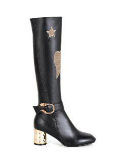 Heart Pattern Embroidery Buckle Knee-High Boots - Black 38
