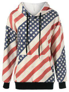 Flag Drawstring Distressed Hoodie - Red And White And Blue Xl