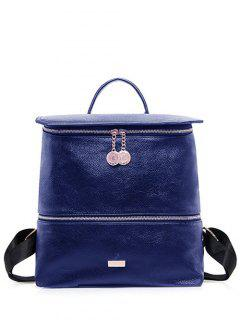 Metallic Zips PU Leather Backpack - Blue