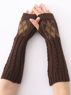 Hemp Decorative Pattern Diamond Crochet Knit Arm Warmers - Coffee