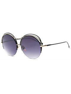 Three Layered Frame Round Sunglasses - Black