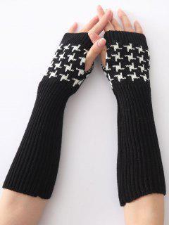 Christmas Winter Vertical Stripe Plover Case Crochet Knit Arm Warmers - Black