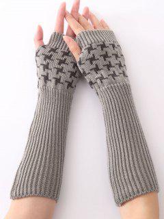 Christmas Winter Vertical Stripe Plover Case Crochet Knit Arm Warmers - Light Gray