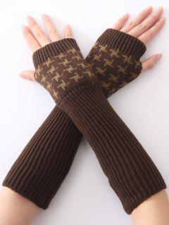 Christmas Winter Vertical Stripe Plover Case Crochet Knit Arm Warmers - Coffee