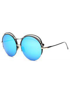 Three Layered Frame Round Mirror Sunglasses - Ice Blue