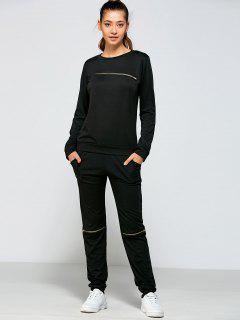 Zippered Sweatshirt And Pants - Black L
