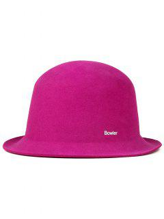 Wool Letters Bowler Hat - Red Violet
