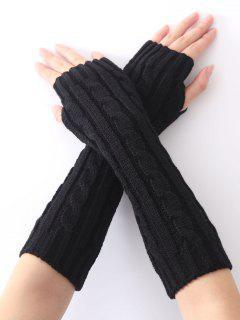 Hemp Decorative Pattern Christmas Keep Warm Crochet Knit Arm Warmers - Black