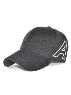 Outdoor Letter A Embroidery Corduroy Baseball Hat - Black