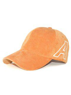 Outdoor Letter A Embroidery Corduroy Baseball Hat - Khaki