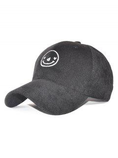 Corduroy Smiling Face Embroidery Baseball Hat - Black