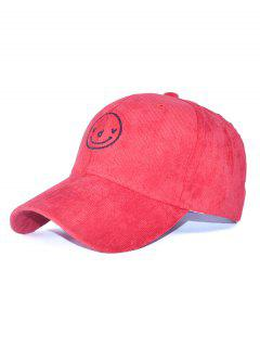 Corduroy Smiling Face Embroidery Baseball Hat - Red