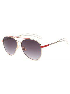 Crossbar Hollow Out Leg Pilot Sunglasses - Red