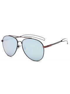 Crossbar Hollow Out Leg Pilot Sunglasses - Wine Red