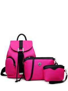 Casual Metal Front Pocket Nylon Backpack - Rose Red