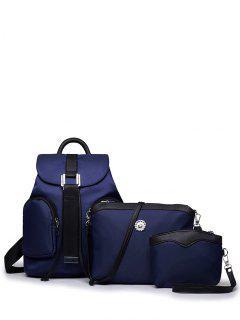Casual Metal Front Pocket Nylon Backpack - Cadetblue