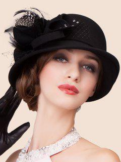 Elegant Lace Bowknot Fedora Hat - Black
