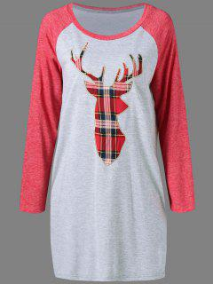 Plaid Elk Pattern Raglan Sleeves Dress - Gray And Red L