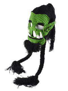 Handwork Easter Monster Mask Knitting Hat - Green