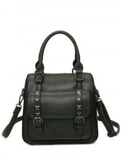 Criss-Cross Double Buckles PU Leather Handbag - Blackish Green